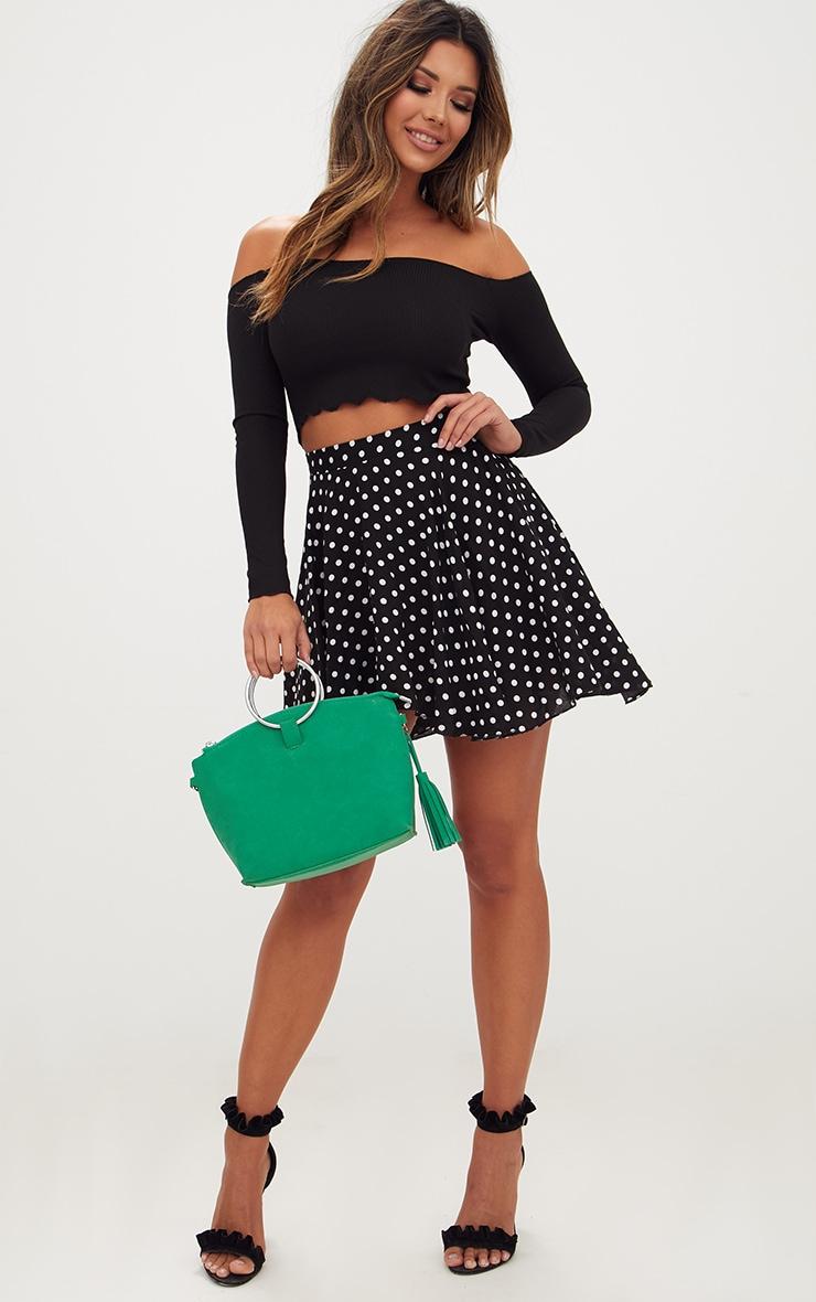 Black Polka Dot Floaty Mini Skirt 5