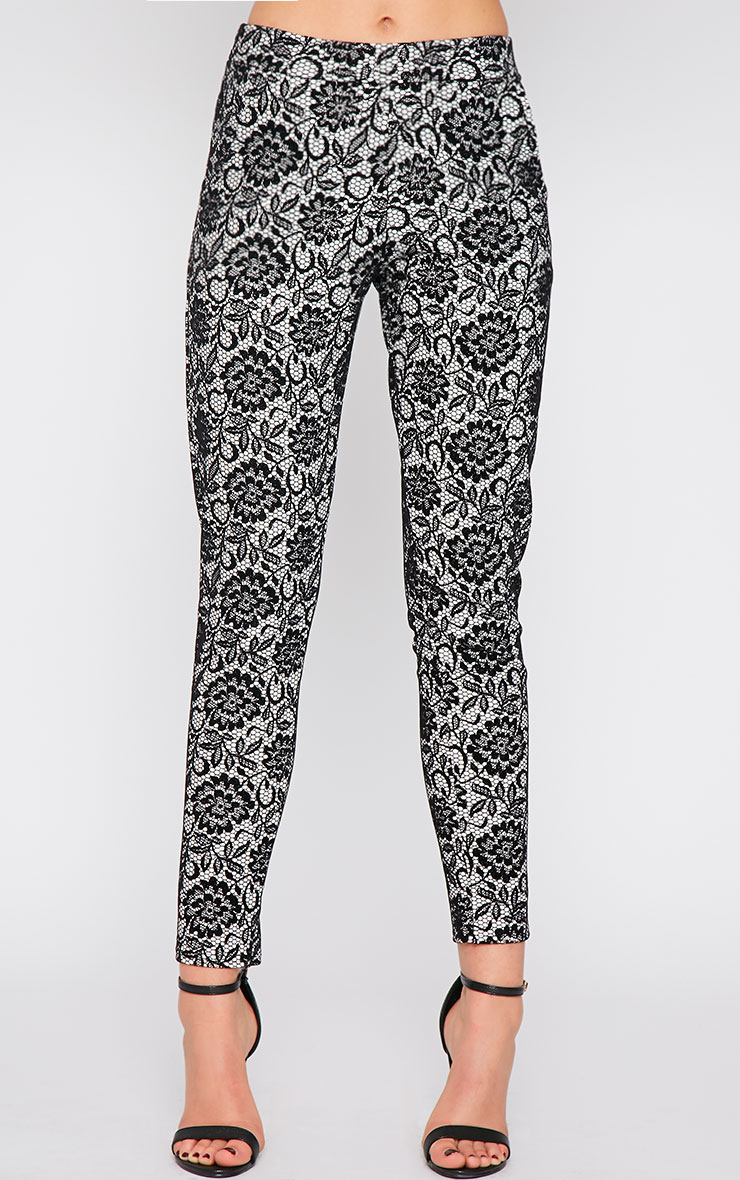 Makya Monochrome Velvet Flocked Print Trouser 5