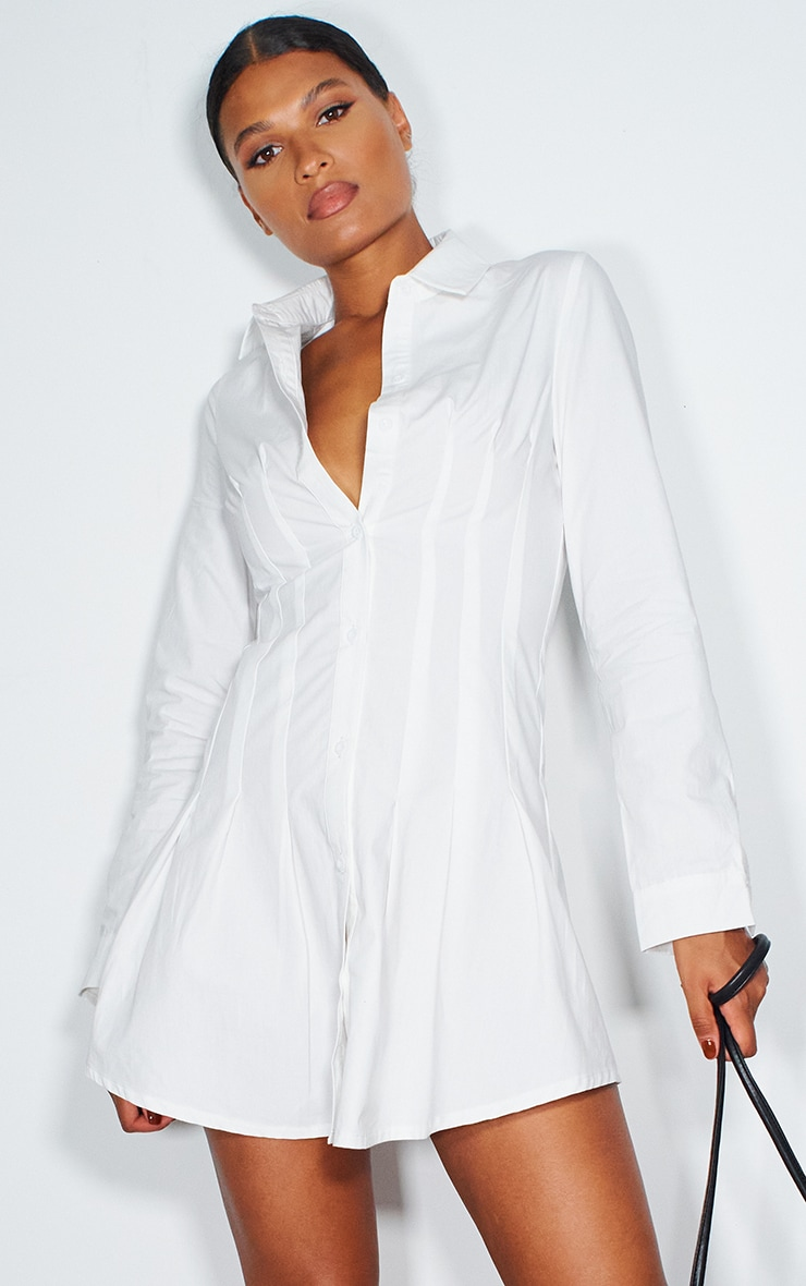 White Pleated Corset Detail Skater Shirt Dress 1