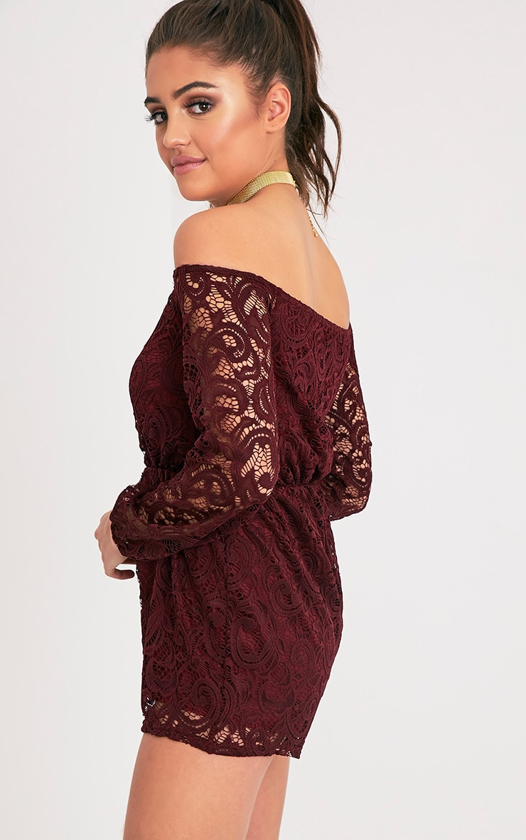 Ellora Burgundy Lace Bardot Long Sleeve Playsuit 4