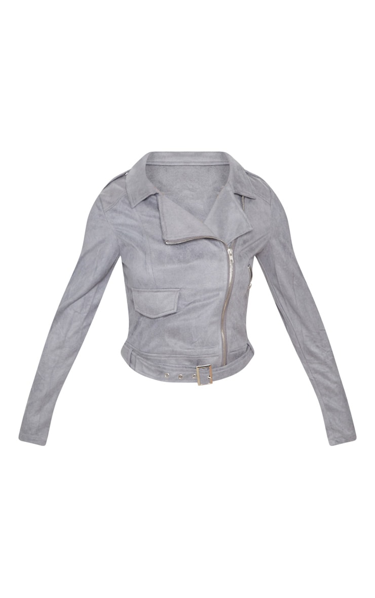 Niki Grey Faux Suede Biker Jacket 3