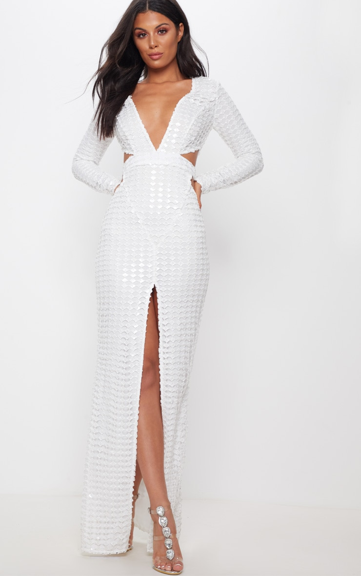 White Metallic Detailed Cut Out Plunge Maxi Dress