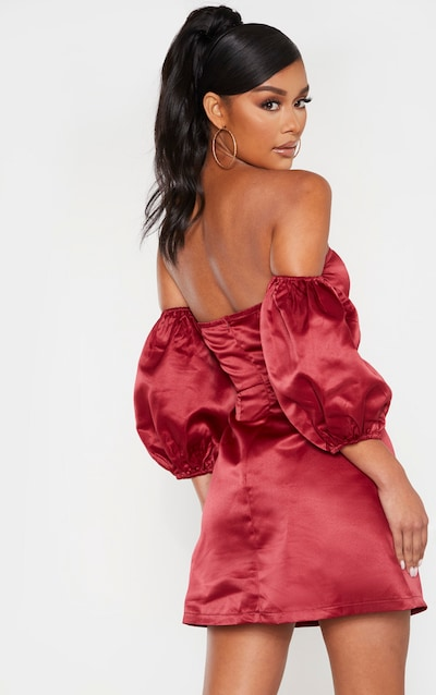 Burgundy Bonded Satin Bardot Puff Sleeve Bodycon Dress