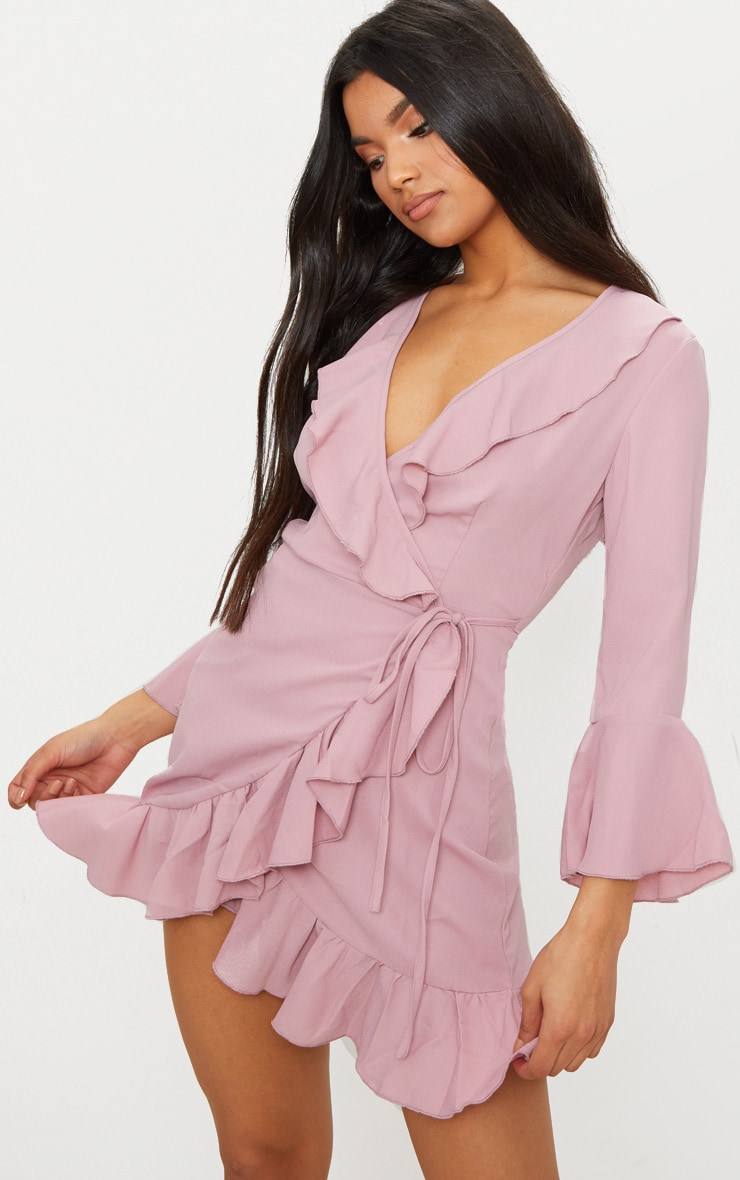 Ilisha Dusty Pink Frill Tea Dress  1