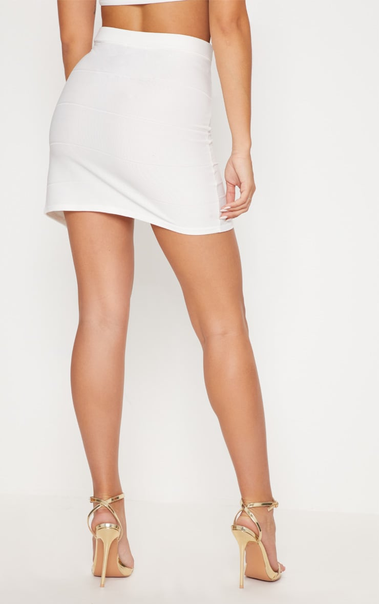 White Bandage Split Mini Skirt 4