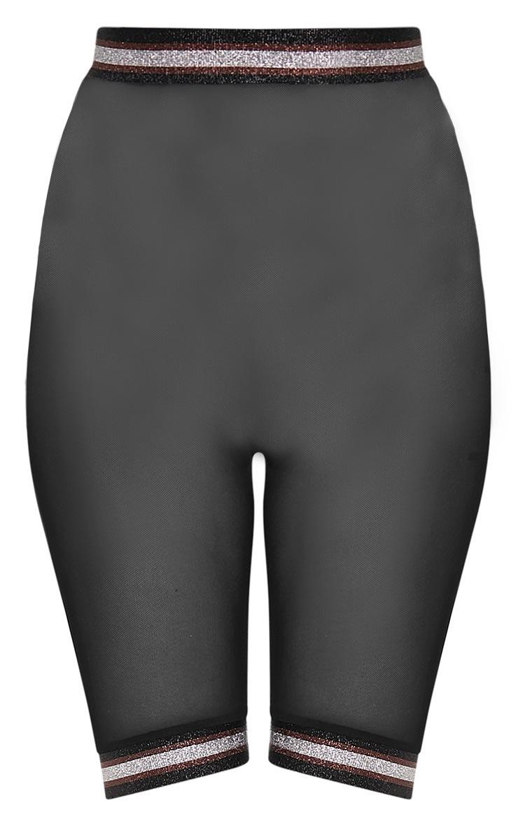 Anzia Black Mesh Metallic Trim Cycle Shorts  3