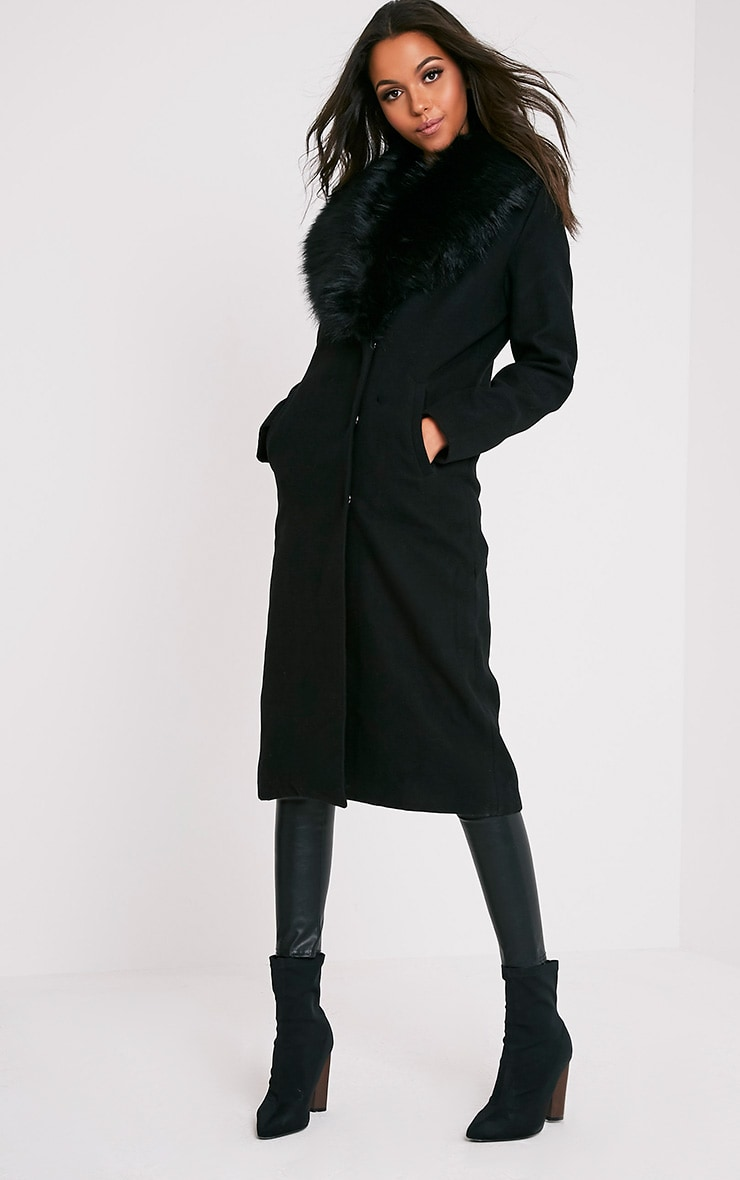 Black Faux Fur Collar Double Breasted Coat 4