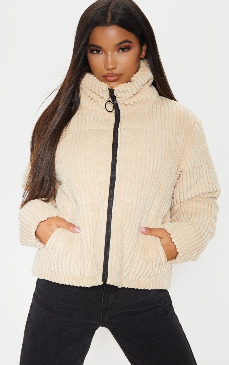 Stone Ribbed Textured Oversized Puffer 1