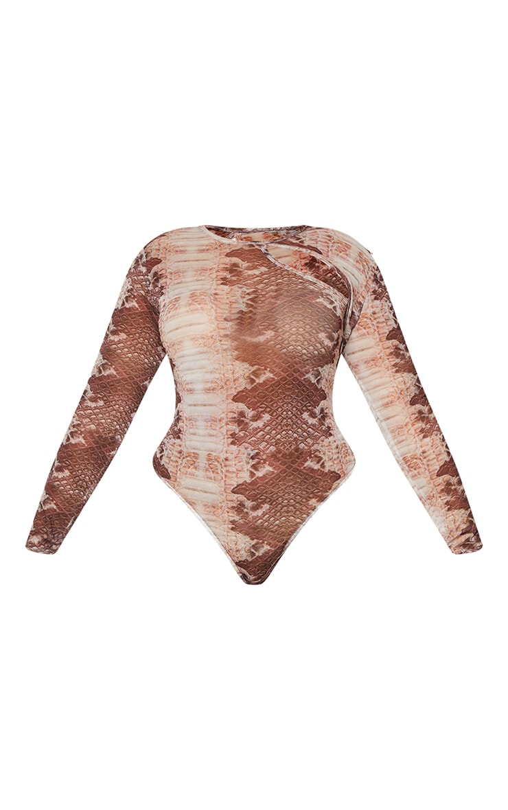 Plus Snake Printed Cut Out Mesh Bodysuit 5