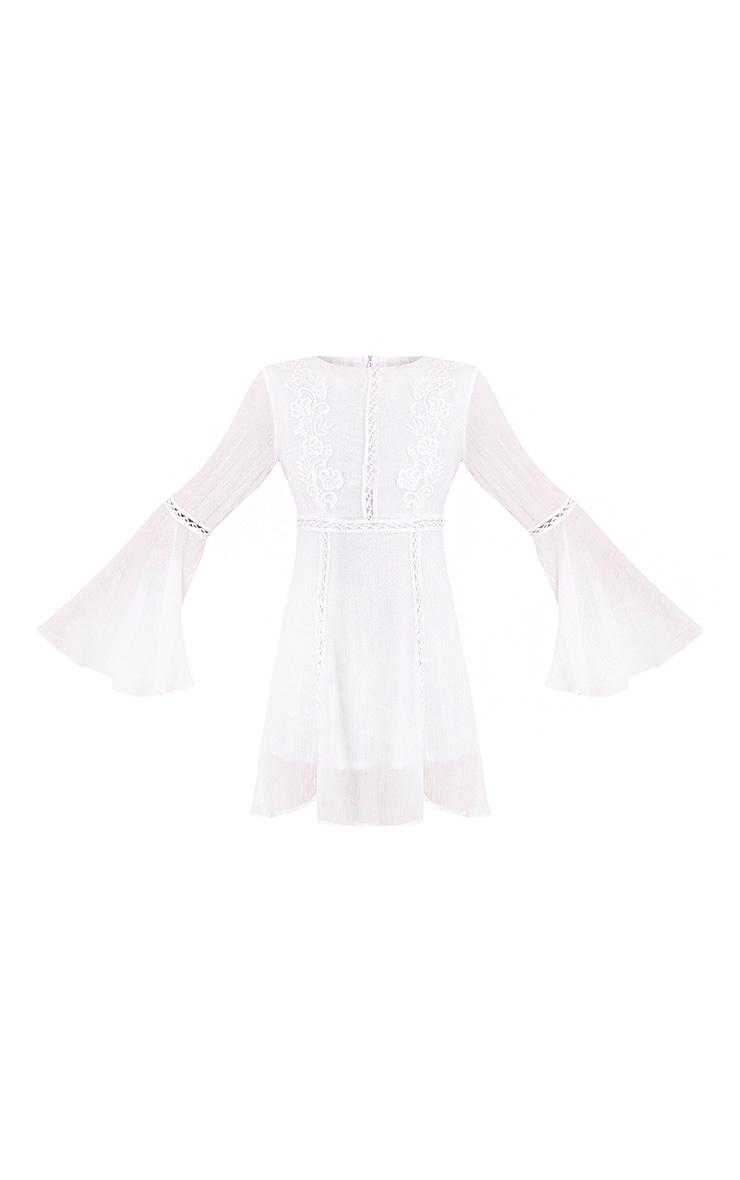 Karmen White Crochet Lace Insert Swing Dress 3