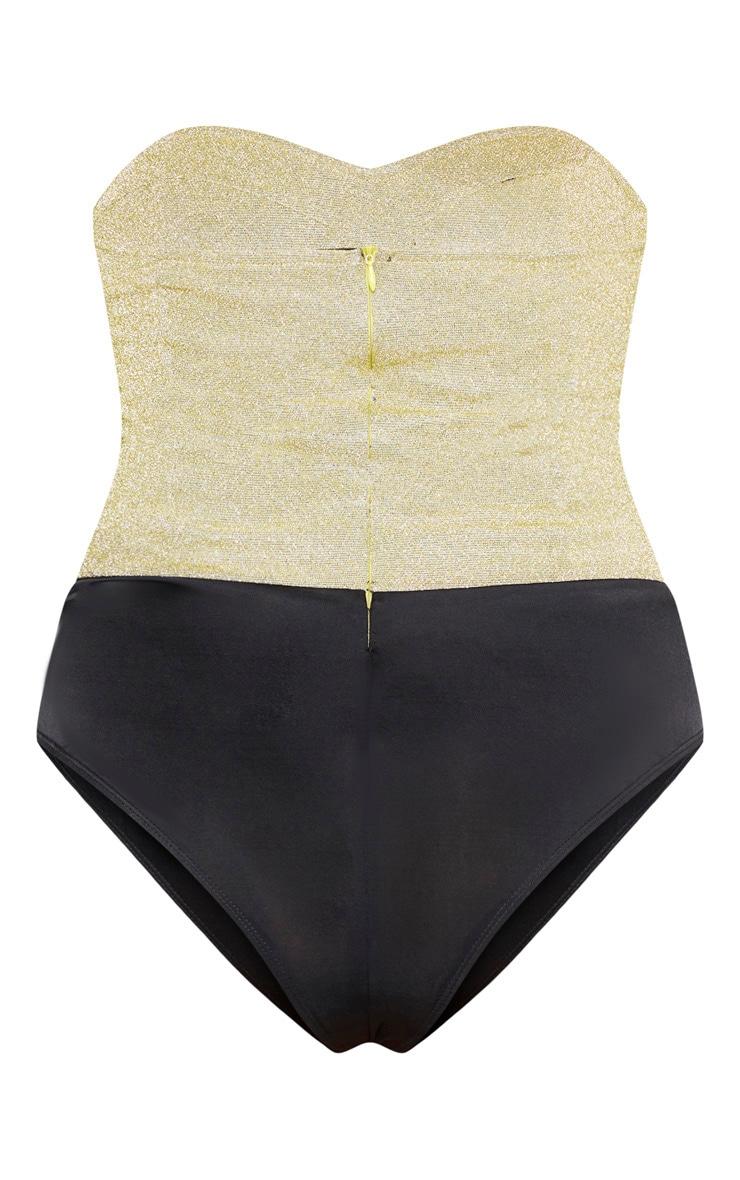 Plus Gold Glitter Corset Bodysuit  4