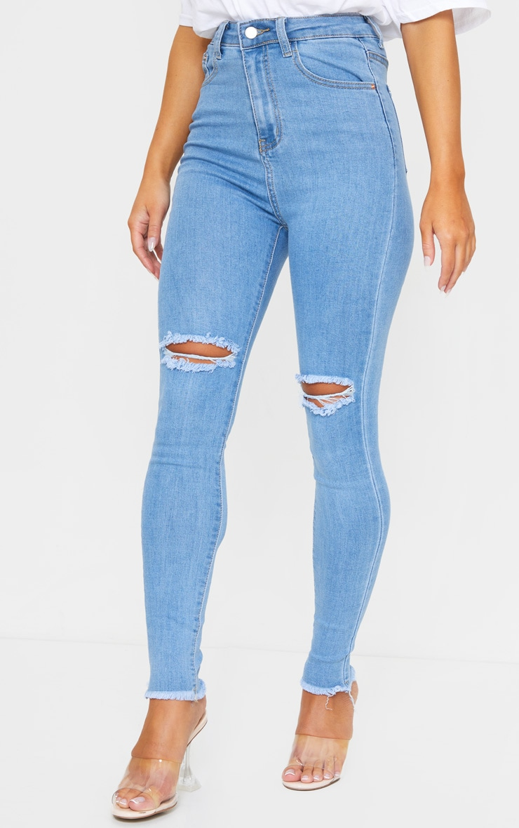 PRETTYLITTLETHING Light Blue Wash Open Knee Raw Hem 5 Pocket Skinny Jeans 2