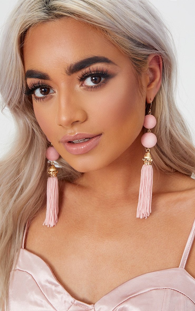 Baby Pink Pom Pom Tassel Earrings 1
