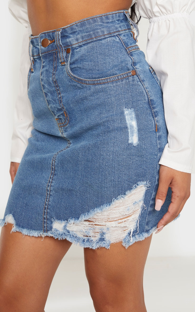 Petite Blue Mid Wash Stretch Denim Skirt 6
