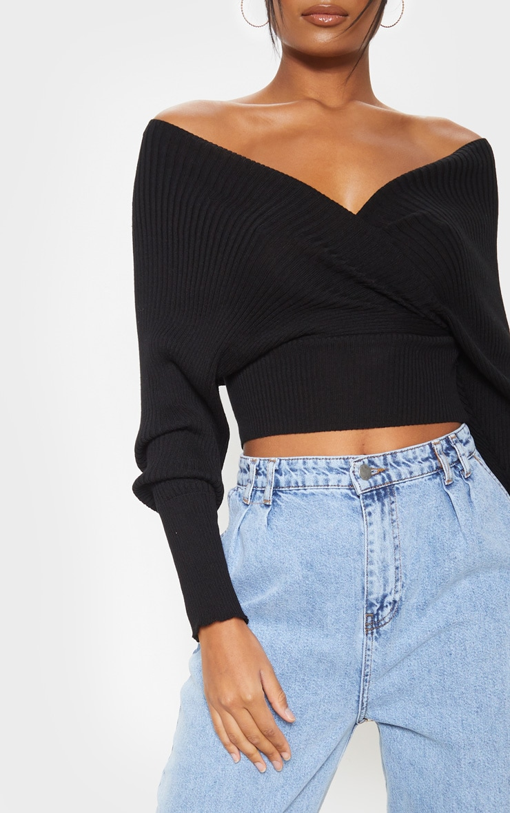 Black Wrap Off The Shoulder Sweater 5