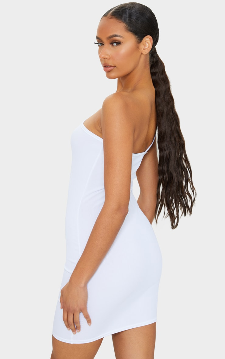 White Ribbed One Shoulder Neck Detail Bodycon Dress 2