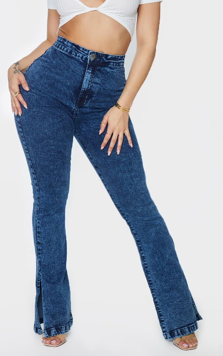 Shape Acid Blue Wash Split Hem Flared Jeans 2