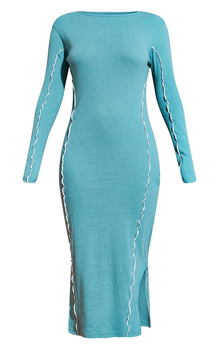 Washed Green  Rib Binding Seam Detail Split Hem Midaxi Dress 5
