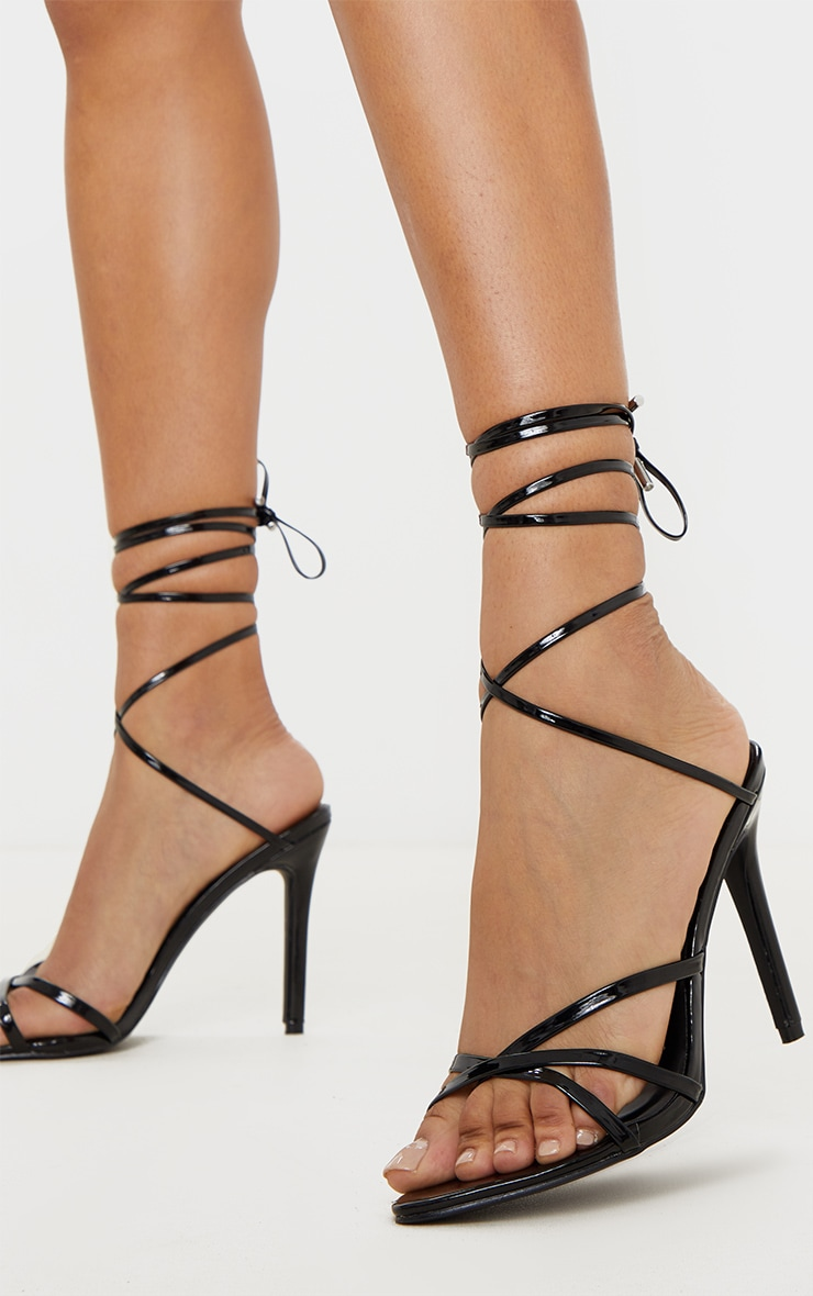 Black Point Toe Thong Strappy High Heel Sandal
