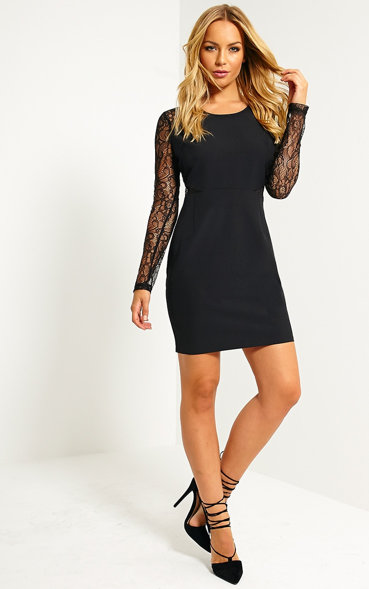 Katrine Black Lace Sleeve Mini Dress 3