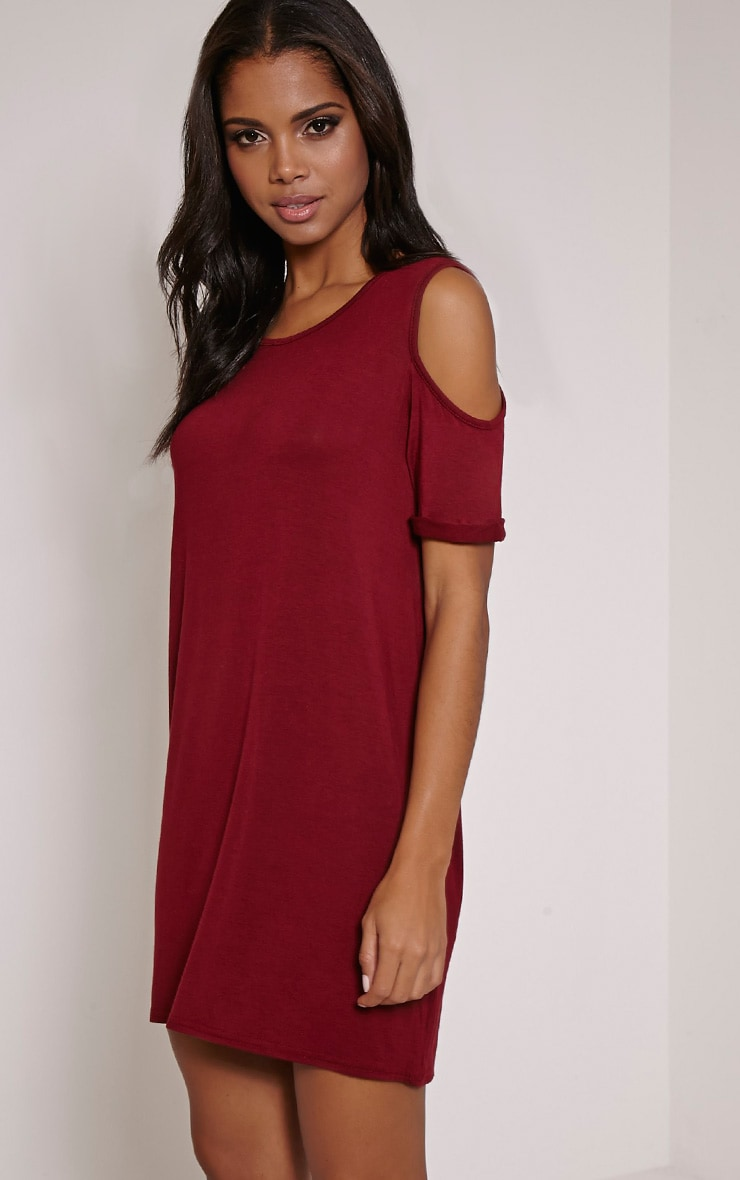 Basic Burgundy Cut Out Shoulder Dress 1
