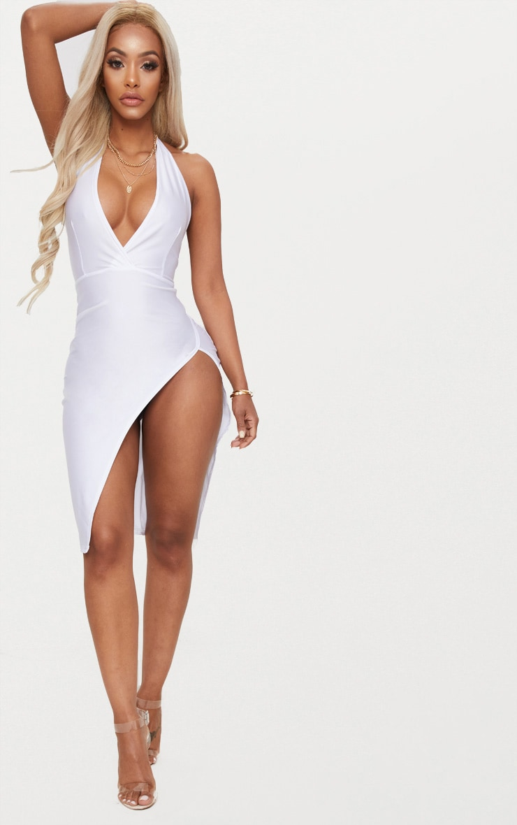 White Shape Disco Slinky Halterneck Midi Dress 1