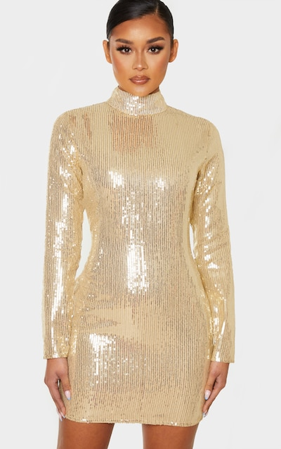 Gold Sequin Long Sleeve High Neck Bodycon Dress