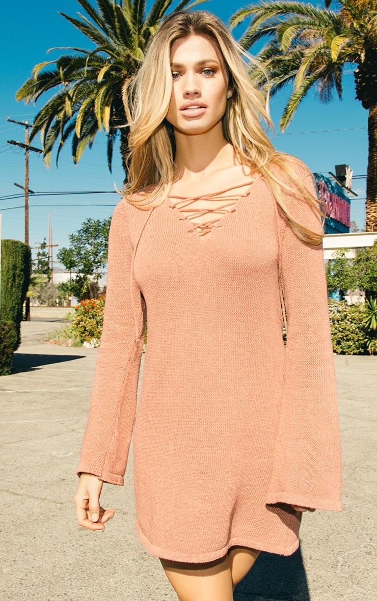 Nena robe manches cloche tricotée rose foncé 2