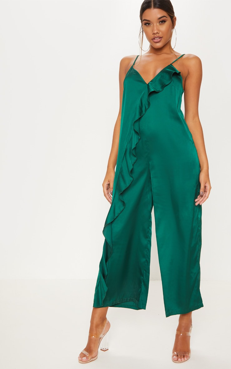 Emerald Green Satin Strappy Oversized Culotte Jumpsuit 1