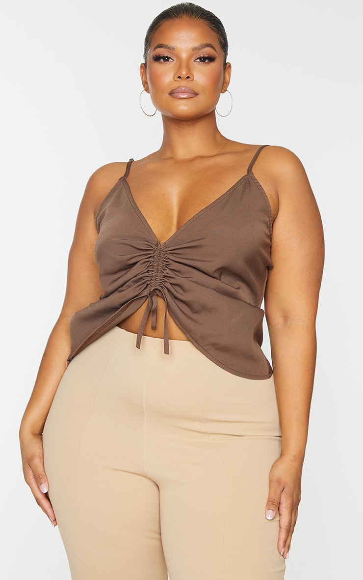 Plus Chocolate Adjustable Ruching Front Cami Top 3