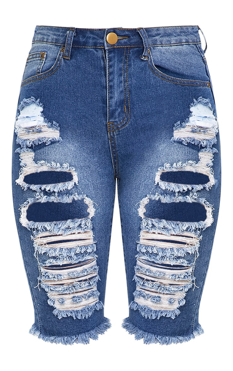 Keena Mid Wash Super Distress  Skinny Fit Long Short 3