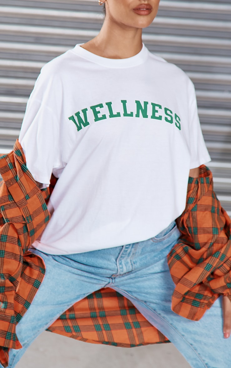 White Wellness Printed T Shirt 4