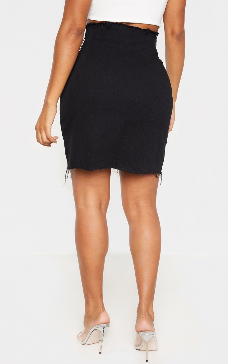 Shape Black Button Front Seam Detail Denim Skirt 4