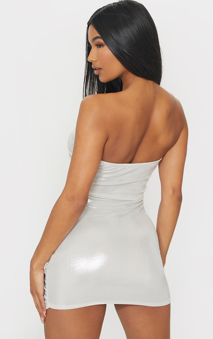 White Metallic Shimmer Ruched Bandeau Bodycon Dress 2