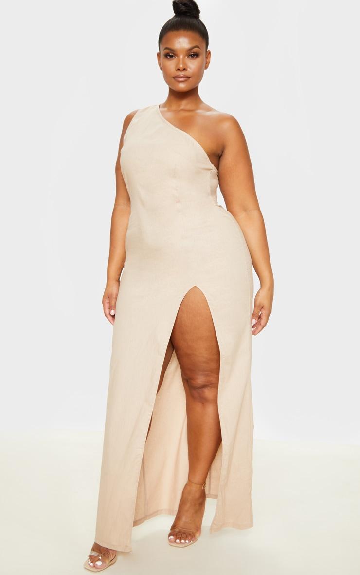 Plus Stone Woven Asymmetric Maxi Dress  4