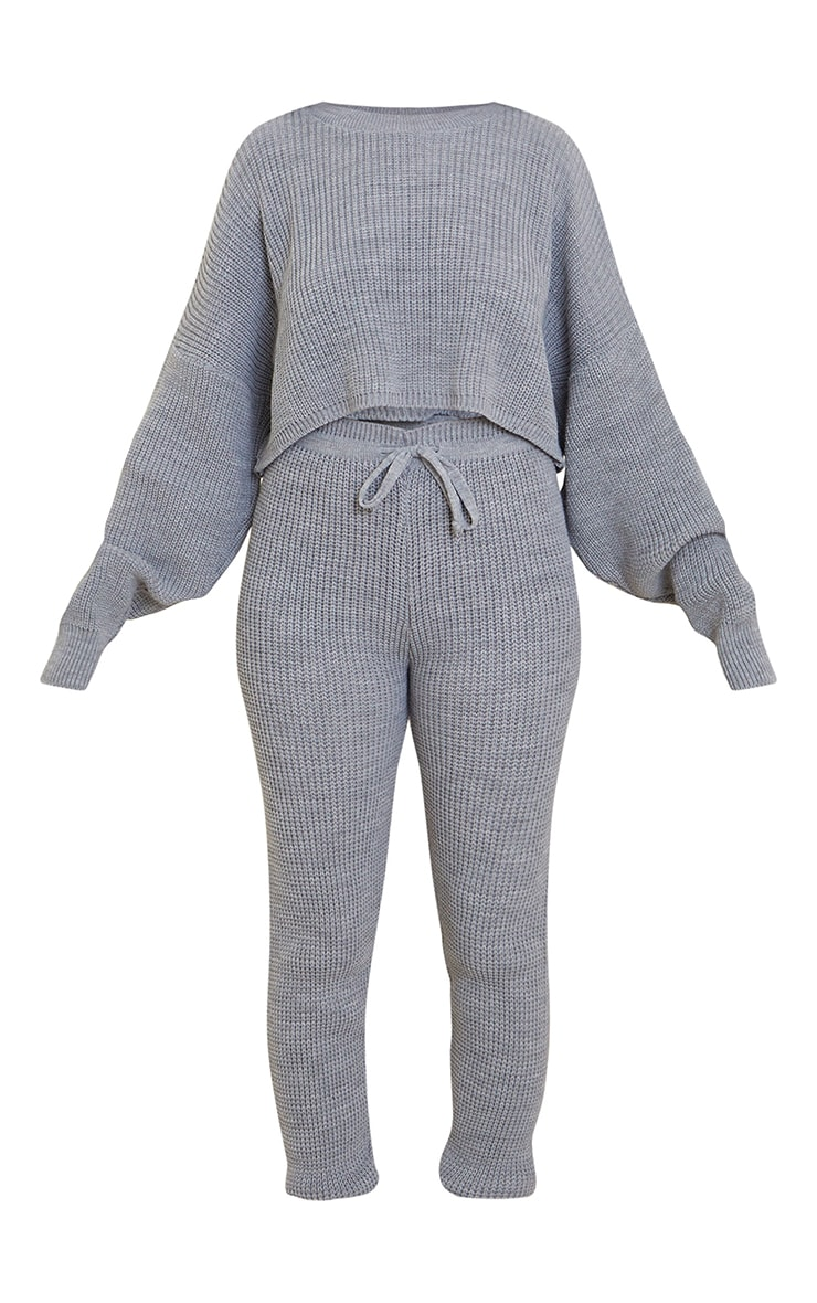 Grey Waffle Knitted Crop Jumper And Tie Waist Leggings 5