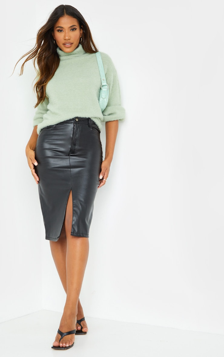 Black Faux Leather Split Hem Midi Skirt 1