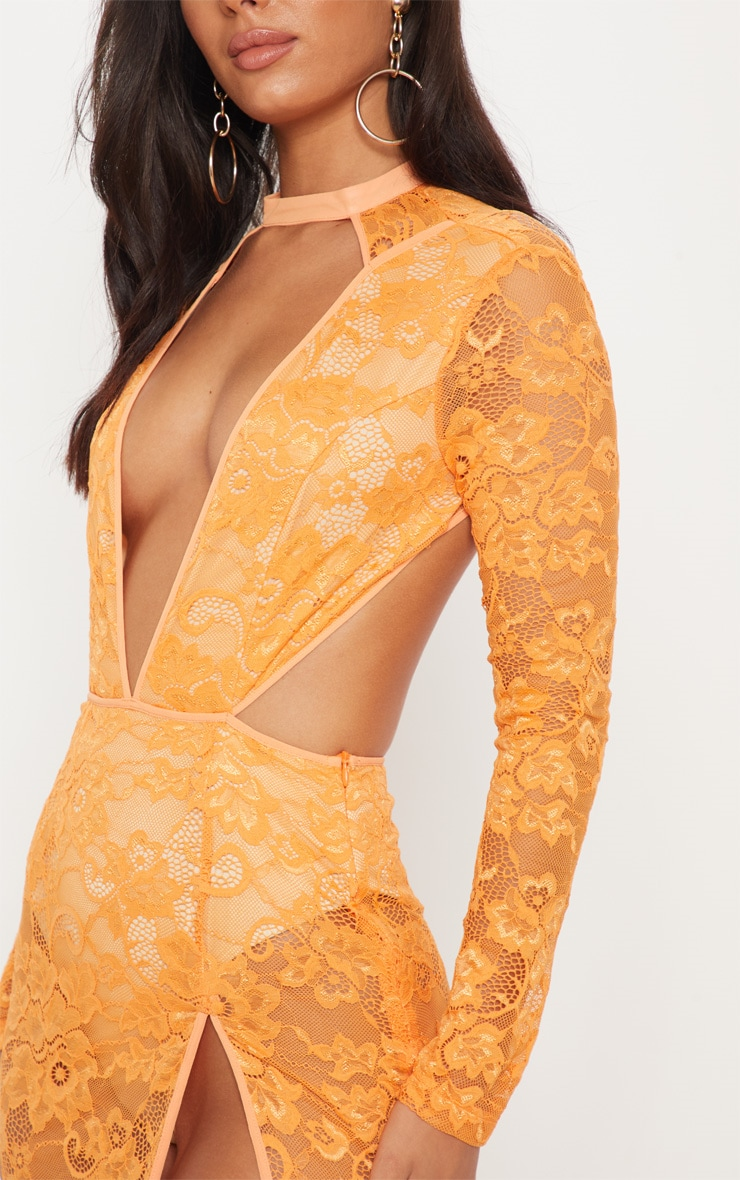 Tangerine Lace Plunge Backless Maxi Dress 5