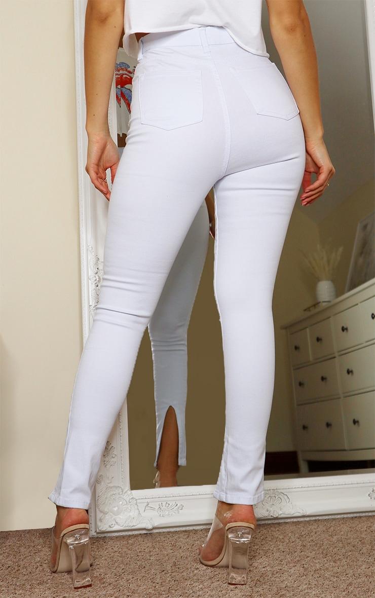 White Front Split Hem Skinny Jeans 3
