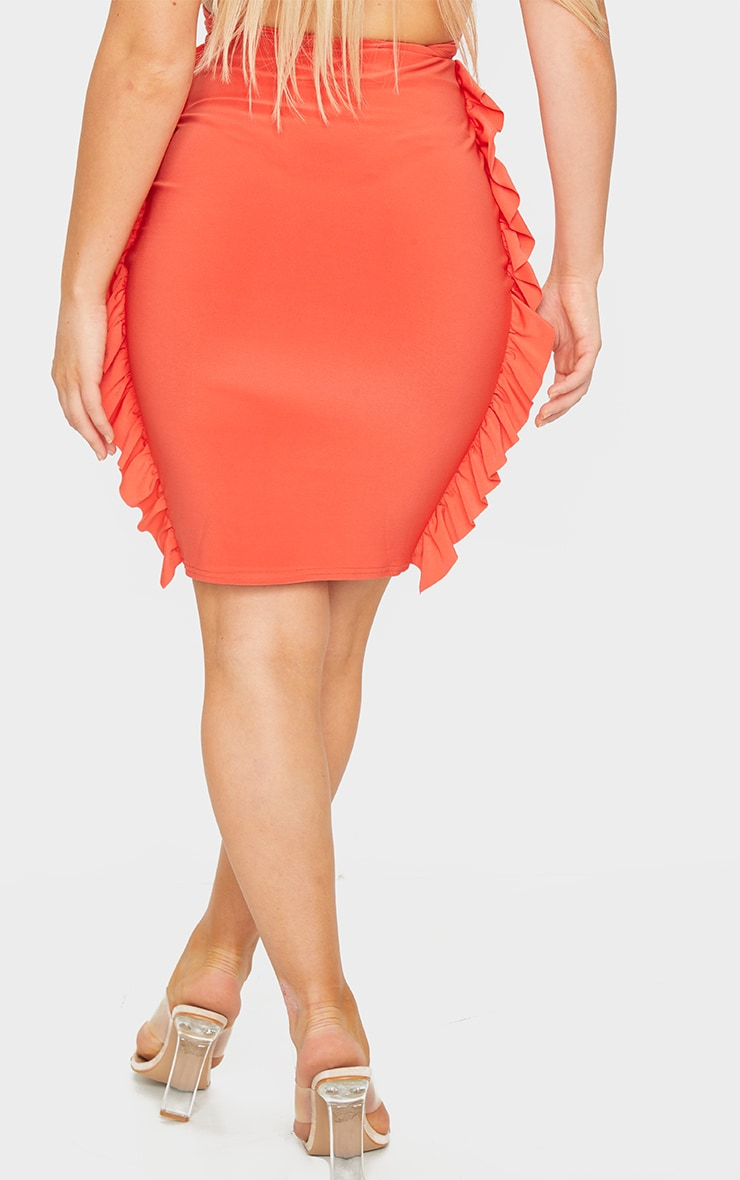Bright Orange Slinky Frill Seam Mini Skirt 3