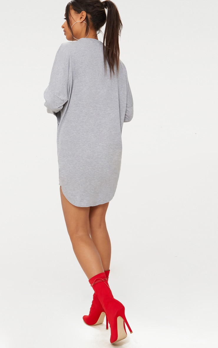 Grey Long Sleeve Jersey Layer T Shirt Dress 2