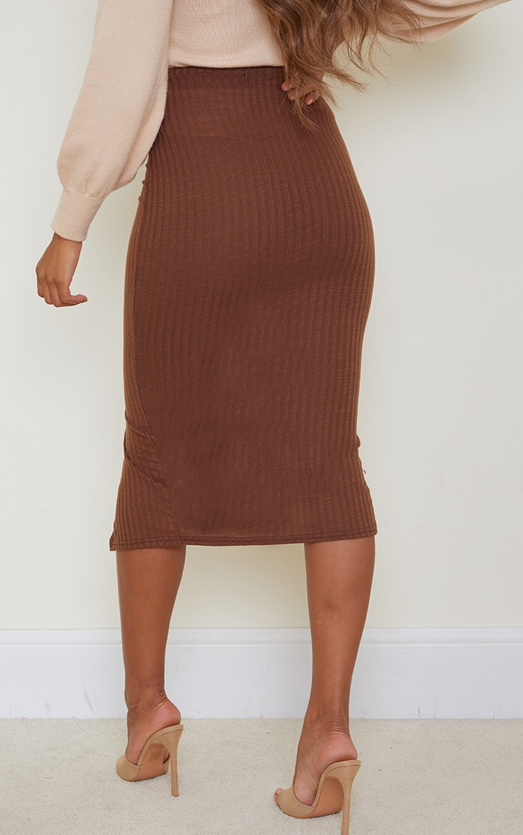 Chocolate Textured Rib Button Front Midaxi Skirt 3