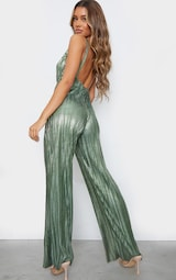Green Metallic Plisse Plunge Wide Leg Jumpsuit 2