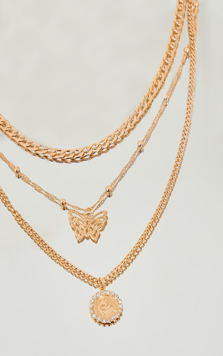 Gold Butterfly Diamantes Layering Necklace 3