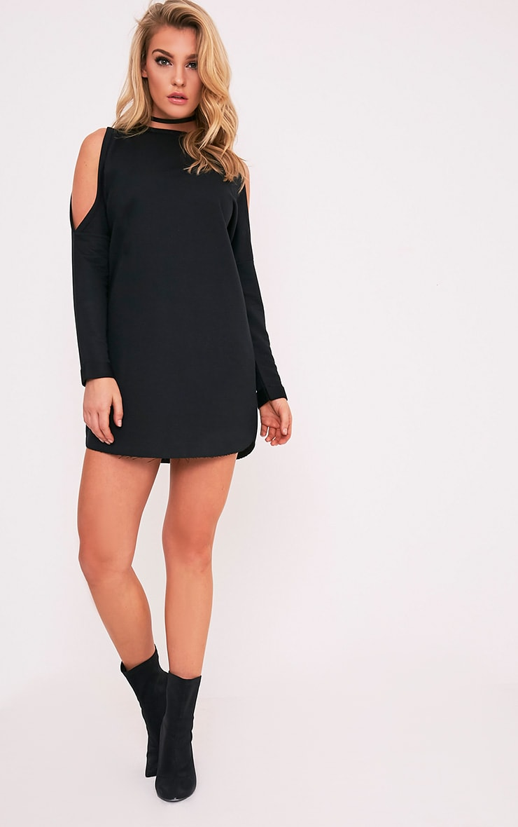 Milene Black Cold Shoulder Sweater Dress 5