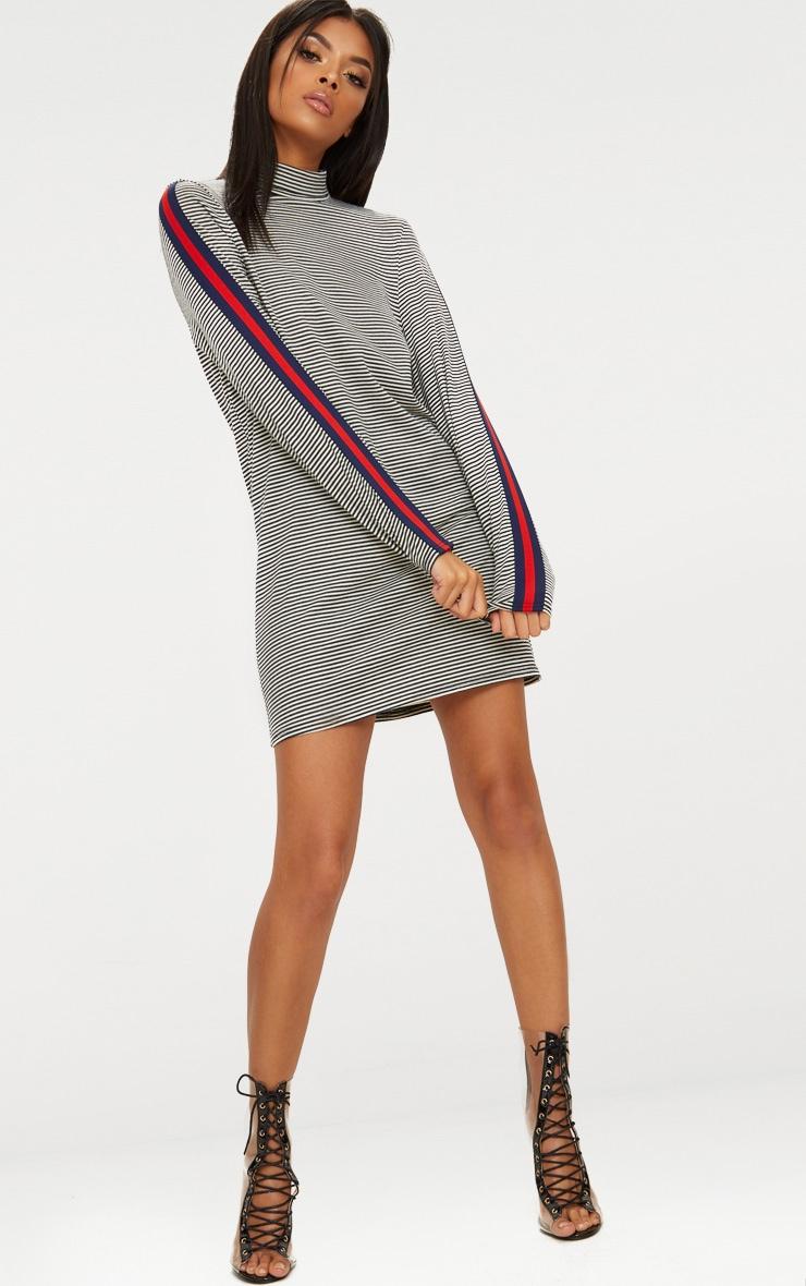 Striped Roll Neck Sports Stripe Shift Dress 4