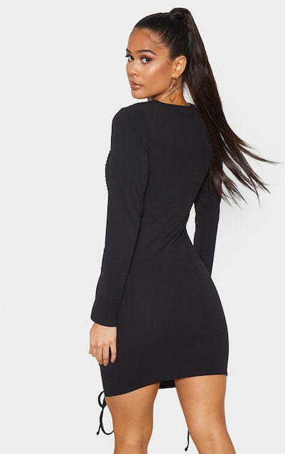 Black Long Sleeve Ruched Bodycon Dress