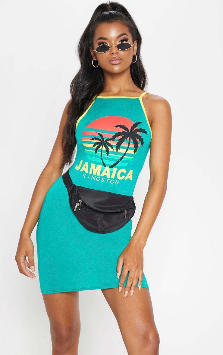 Green Jamaica Slogan High Neck Bodycon Dress 1