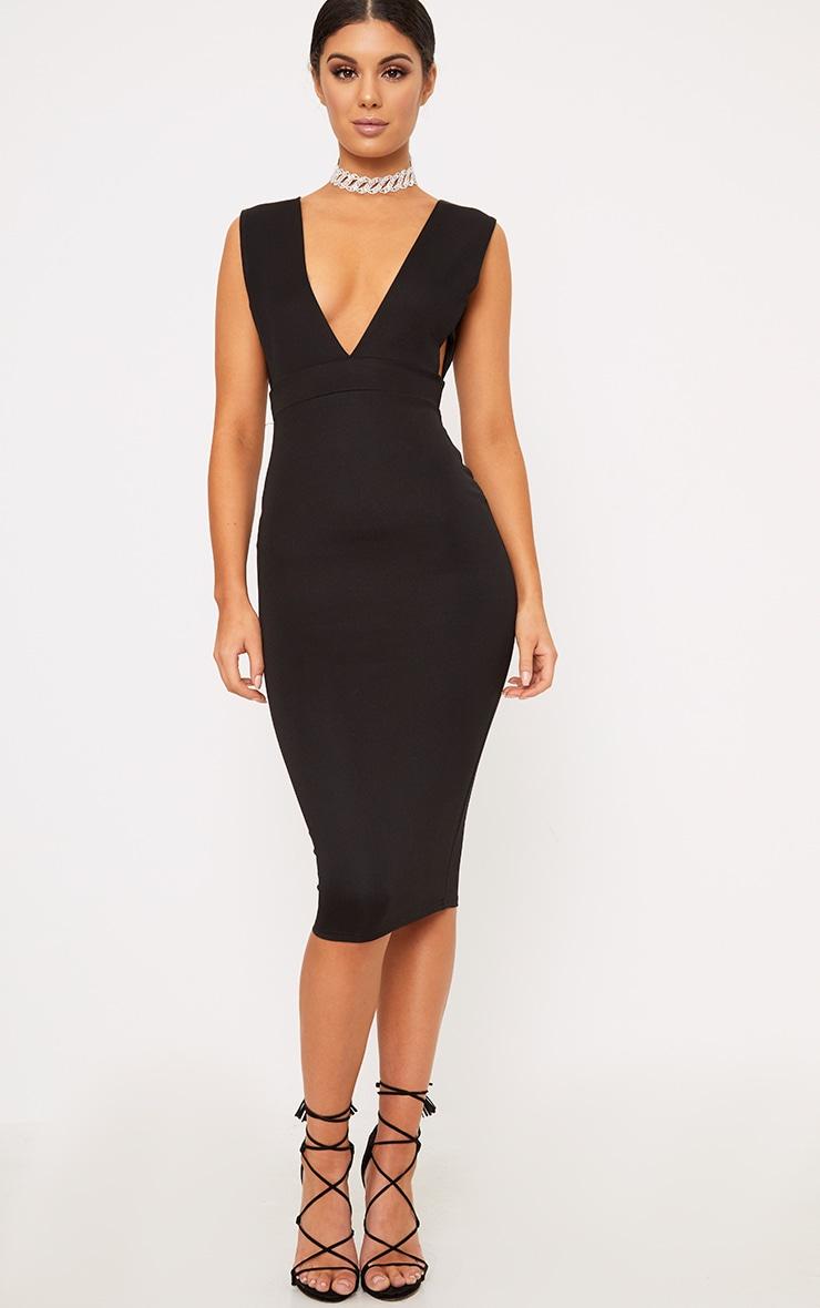 Black Strap Side Plunge Midi Dress 4