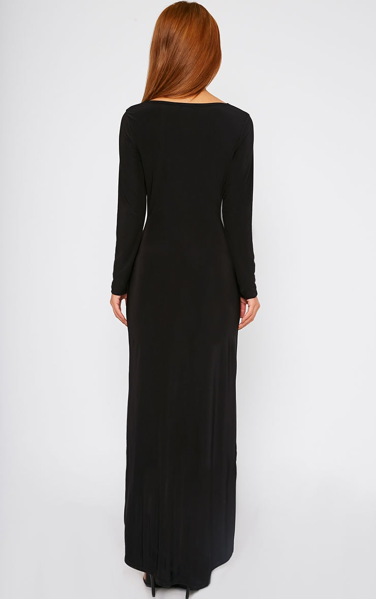 Fearne Black Slinky Dip Hem Dress 2